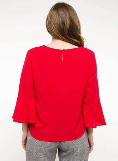 DeFacto Kol Ucu Volan Detaylı Bluz Kırmızı